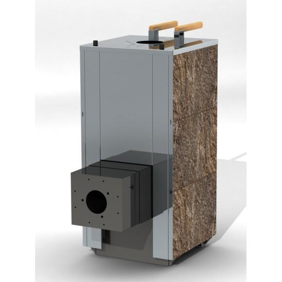 Печь банная Кваттро 18 с фланцем, надувной газовой горелкой Navien GF-5A и автоматикой (закрытая каменка)