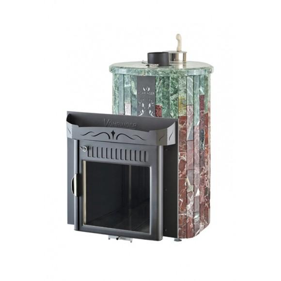 Печь банная Ферингер Мини 'До 16 м³' - Облицовка 'Змеевик + Россо Леванте' (закрытая каменка)